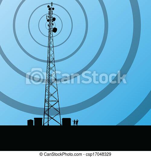 pojęcie, tło, ruchomy, telekomunikacje, telefon, wektor, radio, baza, stacja, wieża, albo - csp17048329
