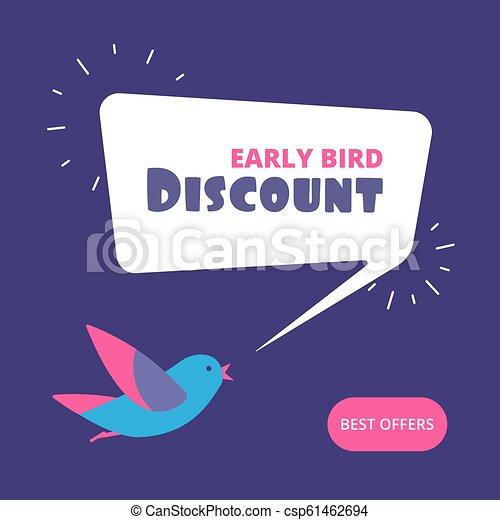 pojem, banner., nabídnout, discount., prodej, ptáček, časný, vektor, prodávat v malém, ptáci, speciální - csp61462694