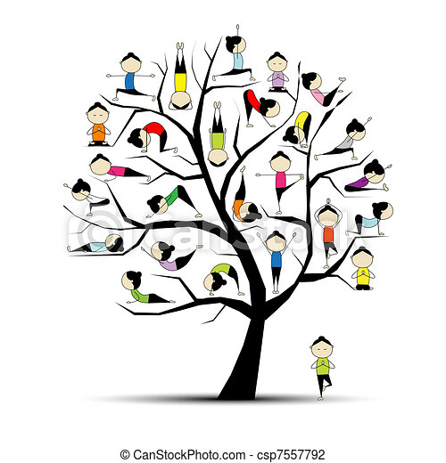 pojem, jóga, cvičit, strom, design, tvůj - csp7557792