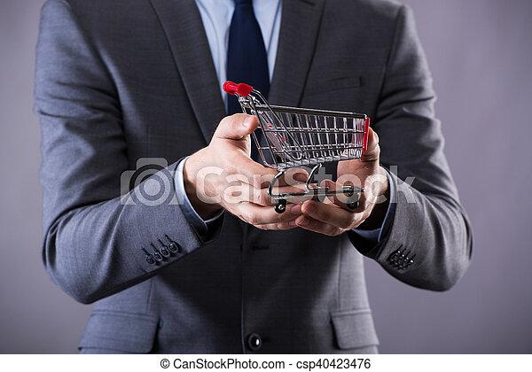 pojem, nakupování, buisinessman, kára, majetek, stav připojení - csp40423476