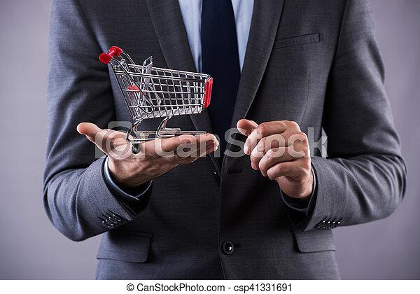 pojem, nakupování, buisinessman, kára, majetek, stav připojení - csp41331691