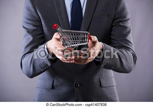 pojem, nakupování, buisinessman, kára, majetek, stav připojení - csp41407836