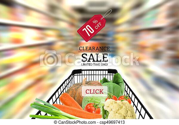 pojem, nakupování, strava, supermarket., kára, prodej, ovoce, plný, supermarket, rostlina, mýcení - csp49697413