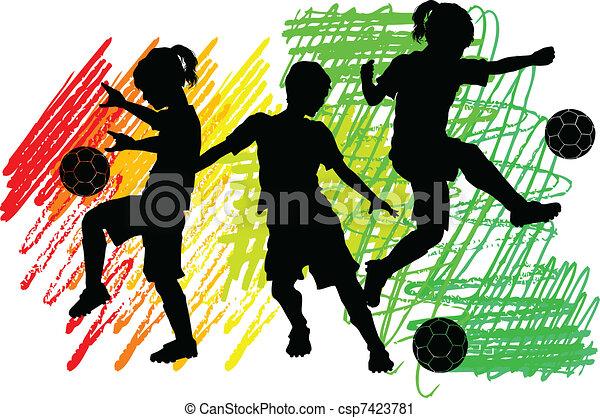 pojkar, silhouettes, fotboll, flickor, lurar - csp7423781