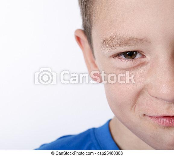 pojke, foto, ungt se, kamera., förtjusande, lycklig - csp25480388