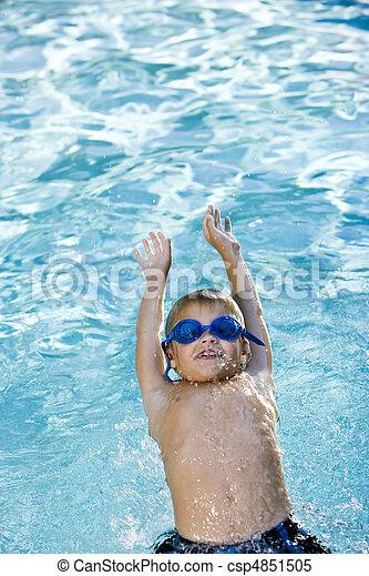 pojke, hans, baksida, slå samman, simning - csp4851505