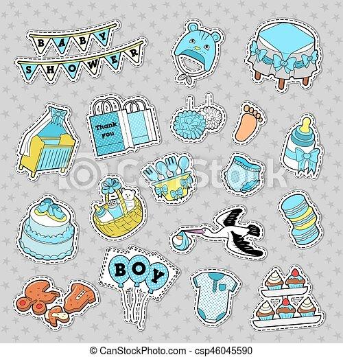 info för mysig färsk detaljer för Pojke, märken, lappar, klotter, decoration., födelsedag, skur ...