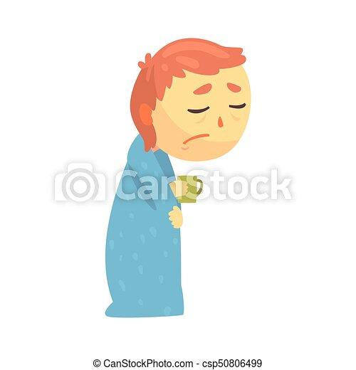 pojke, sjuk, kopp, tecken, filt, influensa, illustration, vektor, holdingen, svept, tecknad film