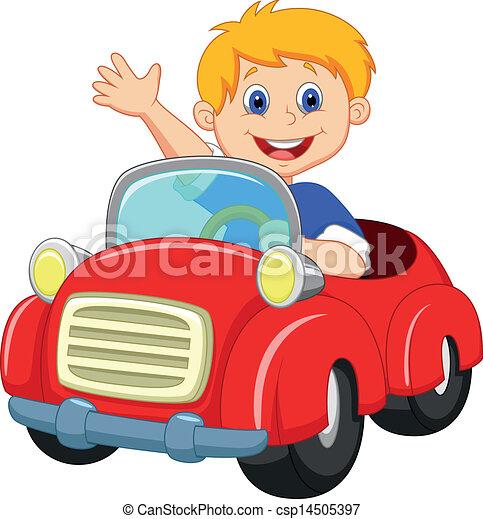 pojke, tecknad film, röd bil - csp14505397