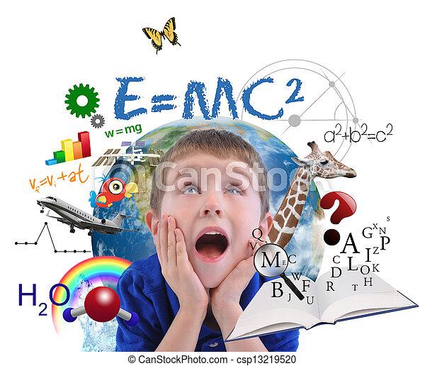 pojke, vit, utbildning, skola, inlärning - csp13219520