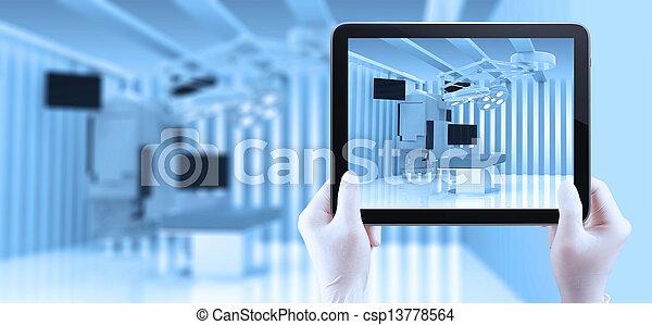 pokój, medyczny, nowoczesny, urządzenia, wyposażenie, operowanie - csp13778564
