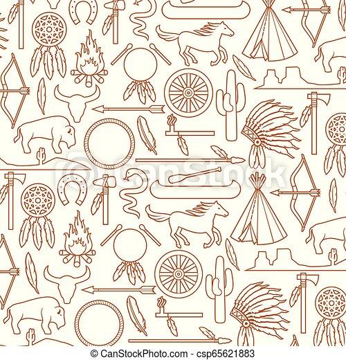 pokój, tomahawk, koń, krajobraz, ikony, próbka, indianie, kajak, szef, strzała, bizon, krajowiec, kaktus, wigwam, (bow, ognisko obozowe, tło, wąż, fryzura, amerykanka, siekiera, rura, catch), sen - csp65621883
