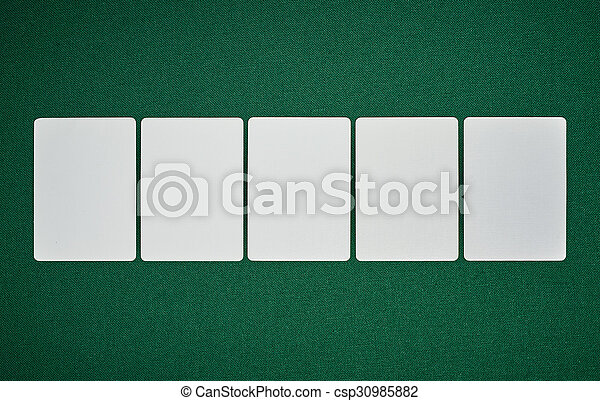 Poker blank cards on table - csp30985882