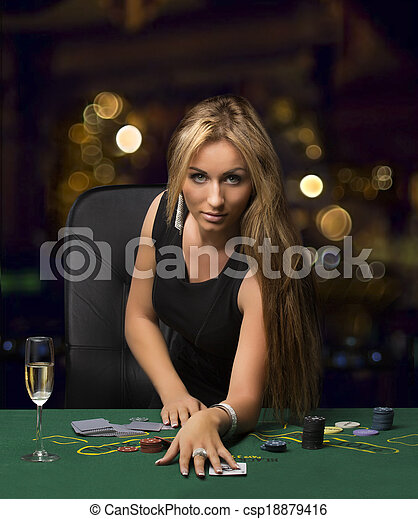 poker, bokeh, casino, girl, jouer - csp18879416