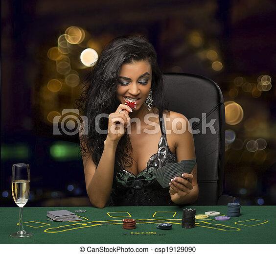 poker, brunette, jouer, girl, casino - csp19129090