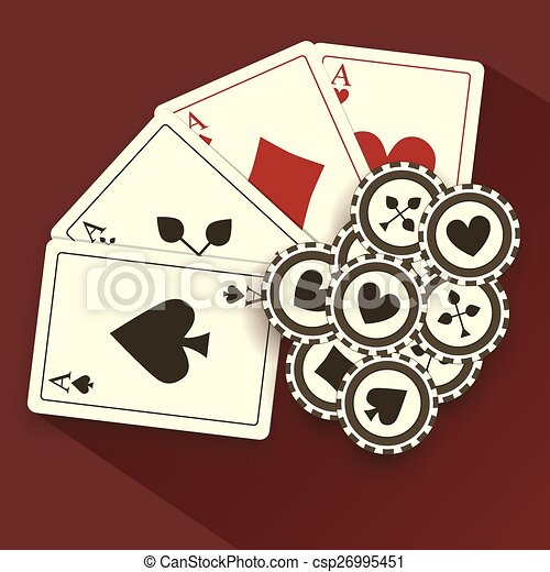 Poker Cards and Chips, Grunge Background - csp26995451