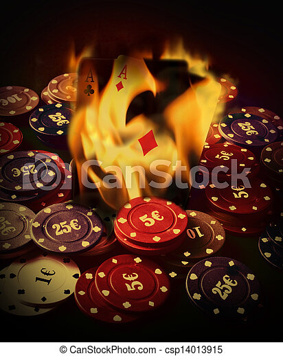 Poker cards burn in the fire - csp14013915