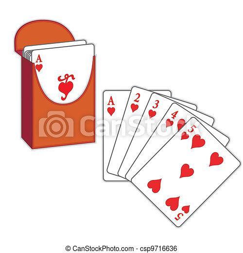 Poker Cards, Straight Flush, Hearts - csp9716636