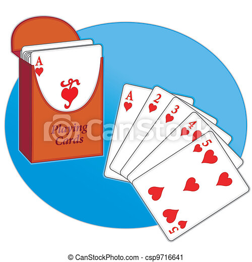 Poker Cards, Straight Flush, Hearts - csp9716641