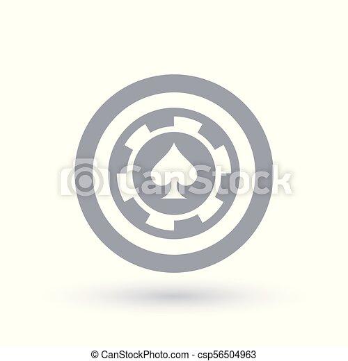 Poker Chip Icon Ace Of Spades Token Symbol Gambling Sign In Circle