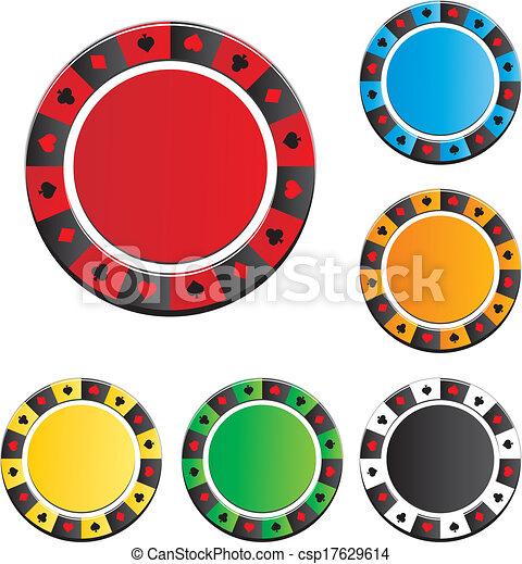 poker chip vector sets - csp17629614