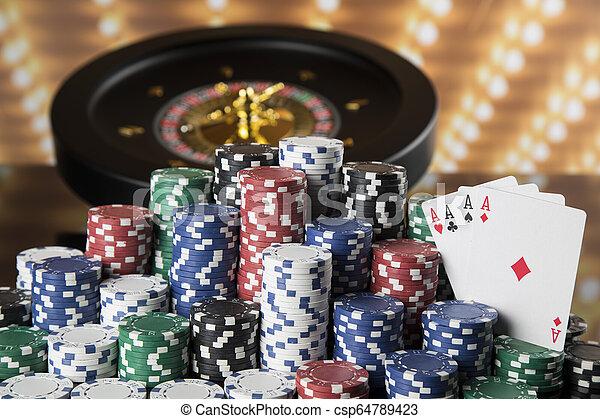 Poker Chips Casino Roulette Wheel Poker Chips On Gaming Table Roulette Canstock