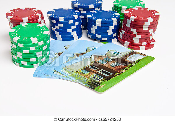 Poker Chips House Playing Cards Isolated Gambling - csp5724258