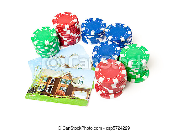Poker Chips House Playing Cards Isolated Gambling - csp5724229