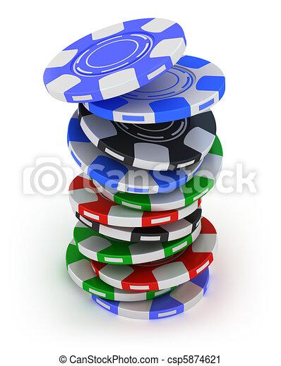 Poker gambling chips in pile - csp5874621