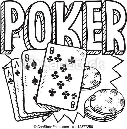 Poker gambling sketch - csp12877256
