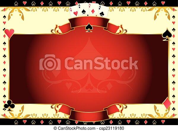 Poker game ace of spades horizontal background - csp23119180