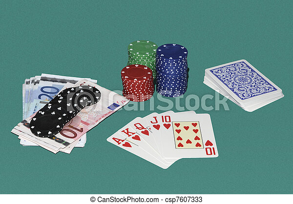 Poker gaming table with cards, bets and red quint flush - csp7607333
