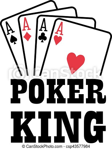 Poker king with four aces playings cards suits.