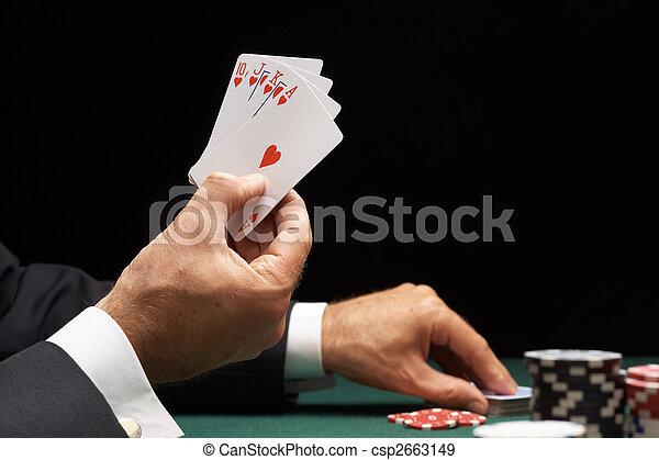 Poker player winning hand of cards royal flush  - csp2663149