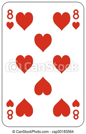 Poker playing card 8 heart - csp30183564
