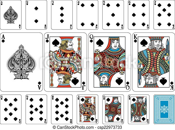 spade card in a deck  Poker size Spade playing cards plus reverse