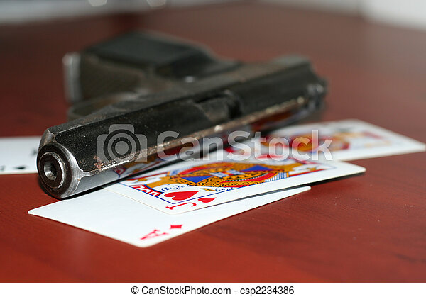 Poker Stock Photo Poker. Gun and playing cards on table in casino stock image - Search Photos and Photo Clip Art - csp2234386 - 웹