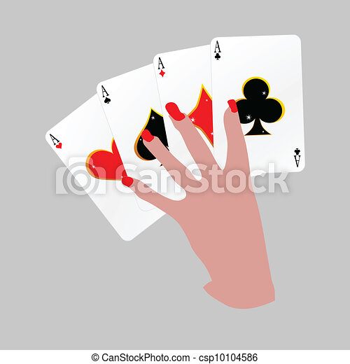 poker with four aces in hand vector - csp10104586