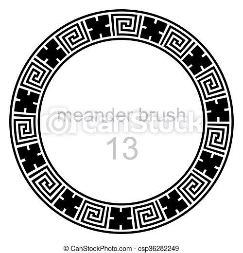 pokręcić, próbka, kreska, starożytny, meandry - csp36282249