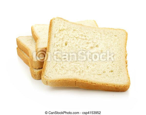 pokrojony, świeży, białe tło, bread - csp4153952