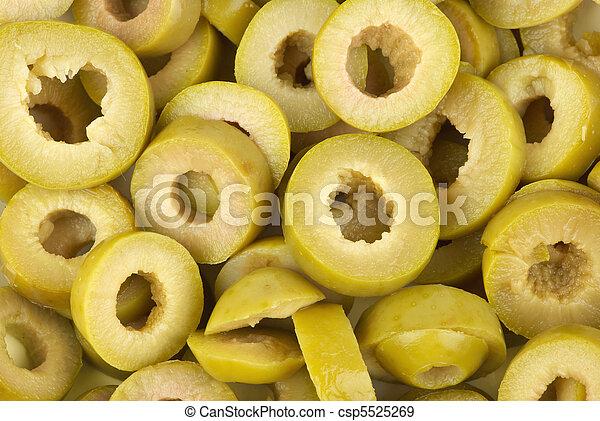 pokrojony, oliwki, zielony - csp5525269