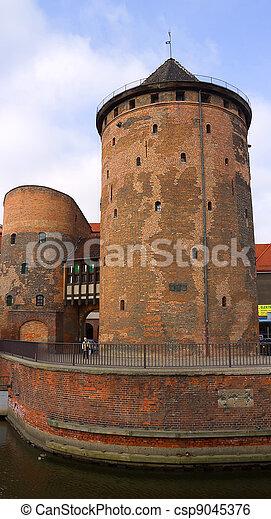 polônia, antigas, torre, gdansk - csp9045376
