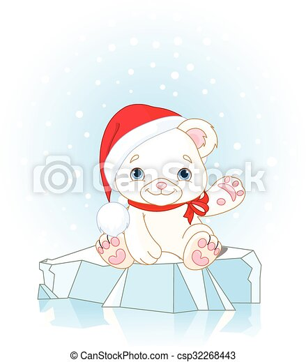 Polaire Noel Ours Ours Blanc Noel Glace Waiving Assied