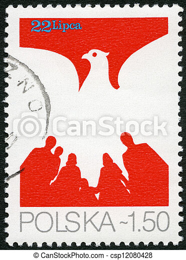 POLAND - CIRCA 1979: A stamp printed in Poland shows Eagle and People, devoted 35th anniversary of the Polish People's Republic, circa 1979 - csp12080428