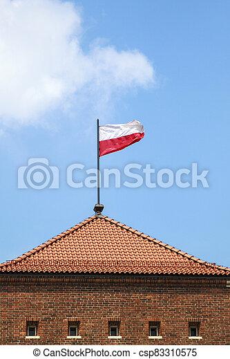 Poland flag on a blue sky background - csp83310575
