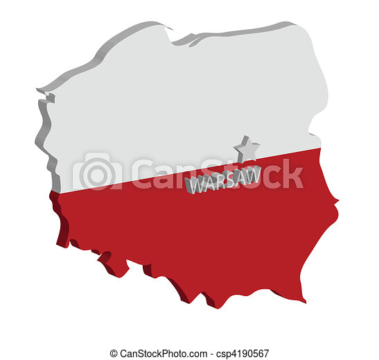 Capital Of Poland Map.3d Map Of Poland With Flag And Capital Marked