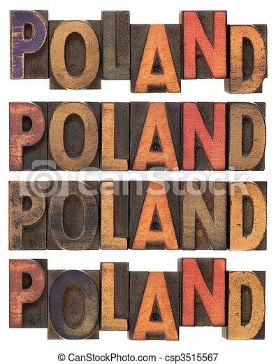 Poland in vintage wooden type - csp3515567