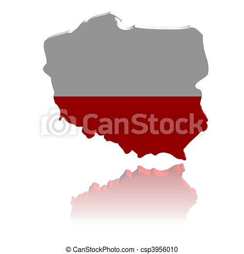 Poland map flag 3d render with reflection illustration.