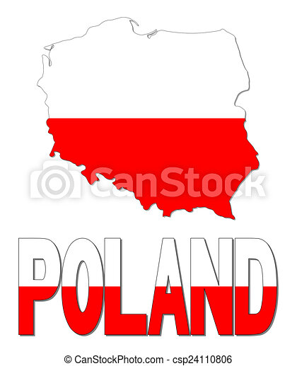 Poland map flag and text illustration.