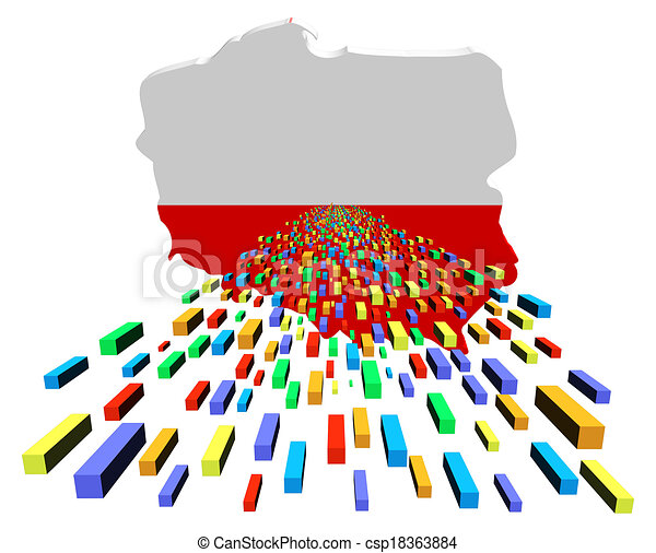 Poland map flag with containers illustration.